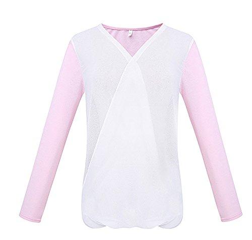T Shirt Damen V Ausschnitt Langarm Figurbetont Vintage Sommer Hemdblusen Langarmshirts Pink