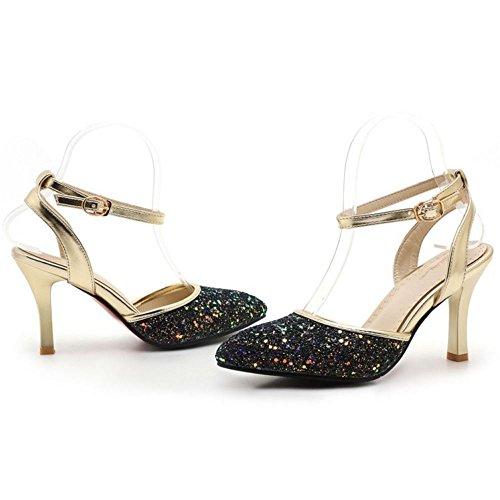 TAOFFEN Femmes Mode Glitter Sandales Soiree Talons Hauts Slingback Chaussures De Boucle Noir