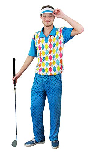 ILOVEFANCYDRESS Herren Golf Kostüm Fancy Dress Blue Argyll Stil Top + Hose + Blau Visier Pub Golf Golfer Hirsch Night Gr. XX-Large, Blau (Leuchtende Fancy Dress Kostüm)