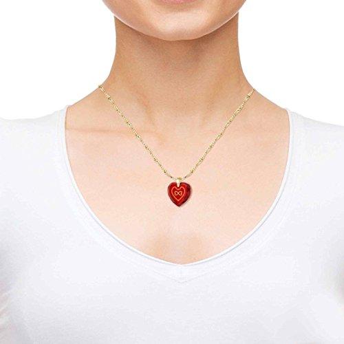 Bijoux Coeur - Pendentif Romantique Plaqué Or avec Love You Always et le symbole de l'infini inscrits à l'Or 24ct sur un Zircon Cubique, Chaine en Or Laminé de 45cm - Bijoux Nano Rouge