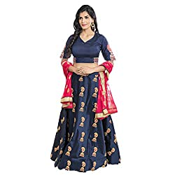 WomenS Nevy Blue Color Embroidered Lehenga -ASBC2A15