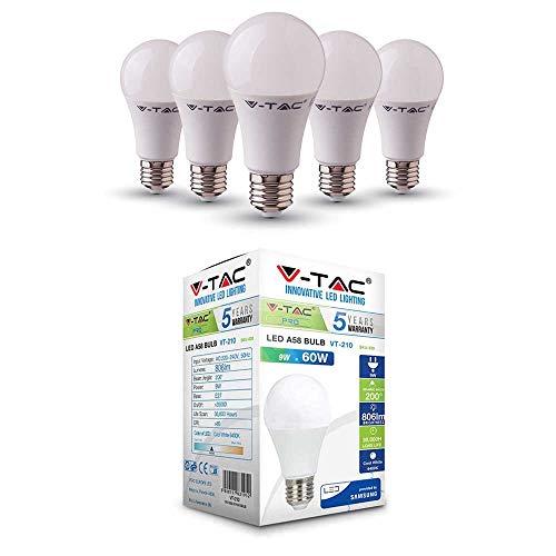 LED Lampe mit Samsung LED | E27 5er PACK | LED A58 Birnen | 9 Watt 806 Lumen | Leuchtmittel ersetzt Glühbirne 60 Watt | Weiß 6400K | Abstrahlwinkel 200° | Nicht Dimmbar | 5 Jahre Garantie