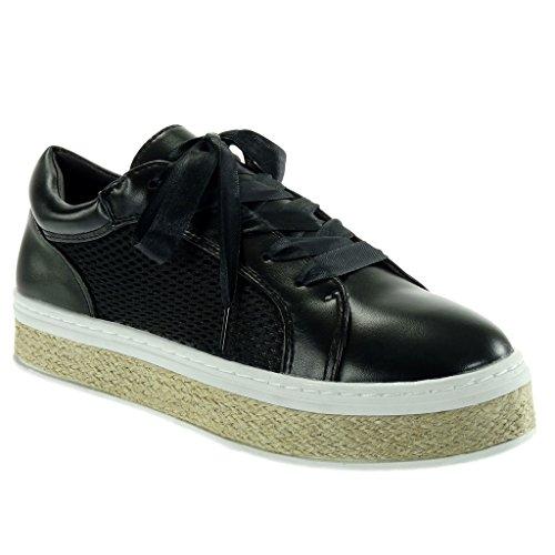 Angkorly - Scarpe da Moda Sneaker Espadrillas Tennis Zeppe Donna Lacci in Raso Perforato Corda Tacco Tacco Piatto 3.5 CM - Nero DARIA2 T 36