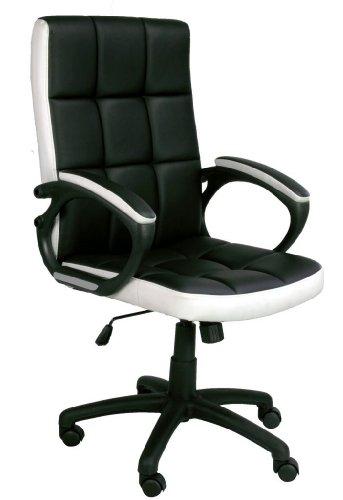 Poltrona schienale medio Executive, effetto pelle, colore: nero e (Pelle Reception Nero Sedia)