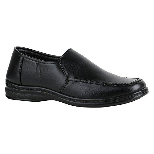 Stiefelparadies Herren Schuhe Loafers Klassische Slipper Velours Samtoptik Quasten 157021 Schwarz Carlton 43 Flandell