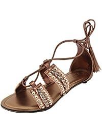 Catwalk Brown Gladiator Western Sandals