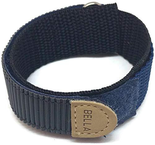 Correa de Velcro para Reloj con Gancho y Lazo, Color Azul Marino, 18 mm, con Anillo Inoxidable