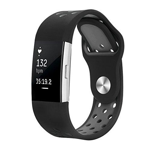 junyi Fitbit Laden 2Bands, weiches Silikon verstellbar Sport Uhrenarmband Zubehör für Fitbit Laden 2Ersatz Fitness Smart Armbänder Small grau (Hut Grau Einstellbar)