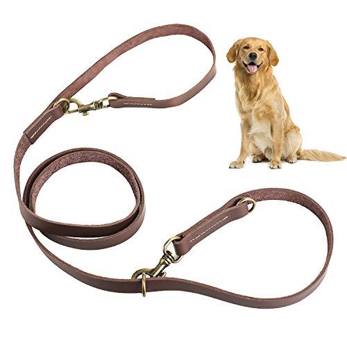 Zoegate Hundeleine Verstellbare Führleine für Hunde Hundeleinen mit Messing-Schnalle mehrfach längenverstellbar - Hundeführleine, Doppelleine - Trainingsleine Hunde Lederleine