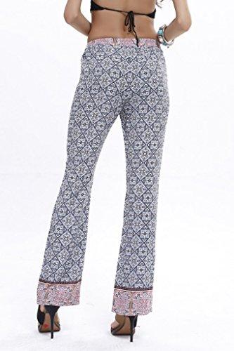 Bigood Pantalon Long Femme Coton Pantalons Imprimés Droit Plage Piscine Voyage Sport Casual Bleu