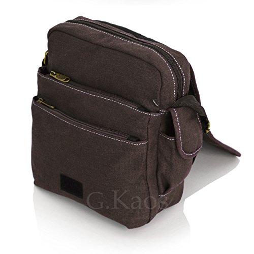 Ormi by G. Kaos–Tasche Herrentasche Schulterriemen verstellbar Stoff Canvas mit Handyfach–Multipocket 3348 Piccolo - Medio 3348-Mil.Green braun