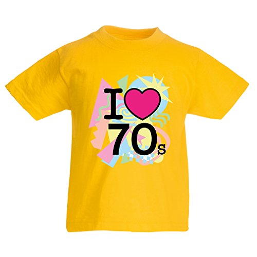 Kinder T-Shirt I love 70's - vintage style clothing (7-8 years Gelb (Party Dishonored Kostüm)