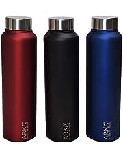 Arka Stainless Steel Chromo Water Bottle, 3-Piece, 1 Liter Each,Matt red,Matt Blue,Matt Black Ideal to Store All Kind of Beverages