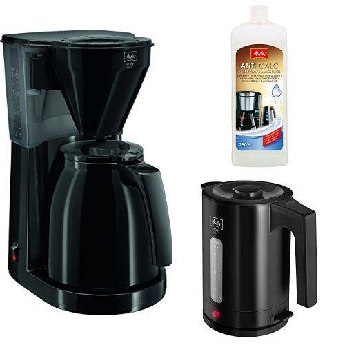 Preisvergleich Produktbild Melitta 1010-06 bk Easy Therm Kaffeefiltermaschine + Melitta 192618 Flüssigentkalker + Melitta Wasserkocher Easy Aqua