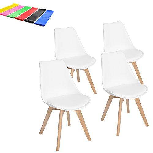 EGGREE 4er Set Esszimmerstühle mit Massivholz Buche Bein, Retro Design Gepolsterter Stuhl Küchenstuhl Holz, Weiß, Kostenloses Geschenk Fitnessbänder x 5pcs (Küchenstuhl Retro)