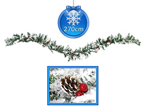Vetrineinrete® festone natalizio innevato con bacche e pigne 270 cm 30 cm largo ghirlanda natalizia artificiale di natale 220 rami con neve pino abete decorazioni e addobbi natalizi