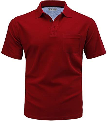 CRONE Basic Herren Pique Poloshirt Regular Fit mit Brusttasche (XL, Weinrot) -