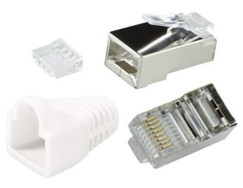 odedo® Lot de 20 Connecteurs à sertir Blanc CAT6 blindé en métal avec Passe-fil et protection antitorsion, fiche lankabel Fiches de réseau réseau RJ45 à sertir kat6, Modular Plug