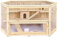 Songmics Jaula de madera para roedores 3 niveles Casa para hamster e animales pequeños PHC001