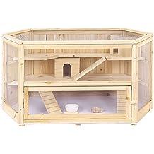 Songmics Jaula de madera para roedores 3 niveles Casa para hamster e animales pequeños 115 x 60 x 58 cm PHC001