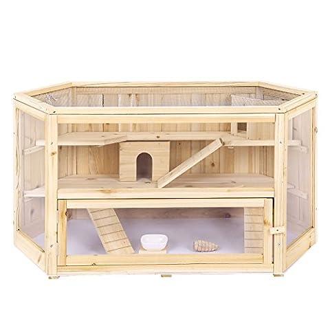 Cage Rongeur Bois - Songmics Grande Cage en bois pour petits