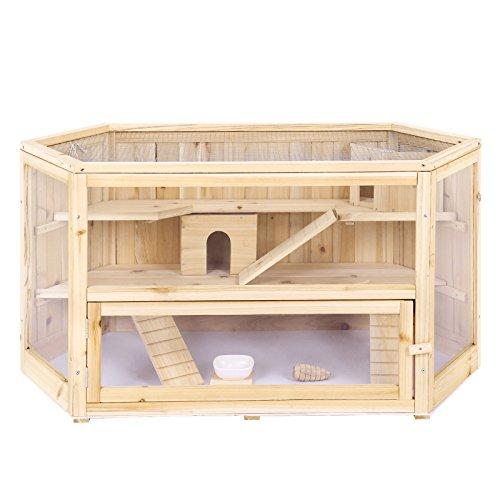 Songmics Hamsterkäfig holz XXL 115 x 60 x 58 cm mit klappbarem Deckel, Stöckchen zum Nagen, Futterschale PHC001