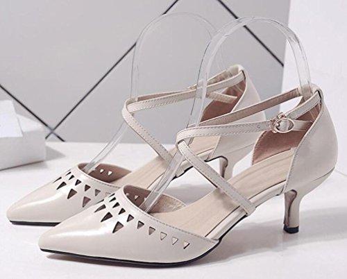 PBXP OL Hochzeit Pumps X-Straps Leder hohle obere spitze Zehe Low Top Chunky Mid Heel Frauen Büros Casual Feminine Schuhe EU Größe 34-39 meters white
