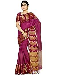 MIMOSA Women's Banarasi Tussar Silk Saree With Running Blouse Piece (4074-271-MEJ_Purple)