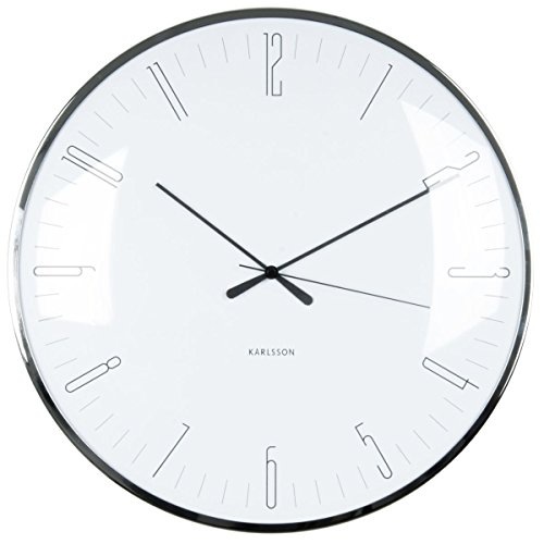 Wall Clock Dragonfly White, Dome Glass