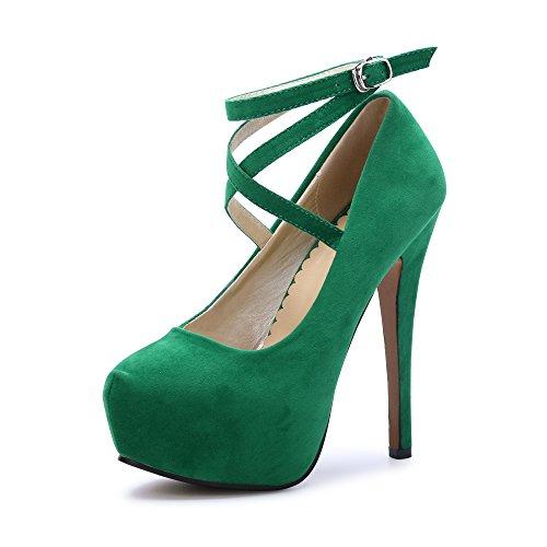 OCHENTA Damen Glitzerschuh Bride Knöchel sexy High Heel Plattform Dick Schnürverschluss Schuhe Club Soiree, #2 Vert - Größe: 40 EU - Sexy High Heels Plattform