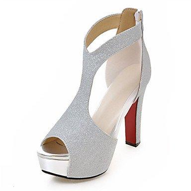 LvYuan Da donna-Sandali-Tempo libero Formale Casual-Comoda Innovativo Club Shoes-Quadrato-Lustrini Materiali personalizzati-Nero Argento Dorato Black