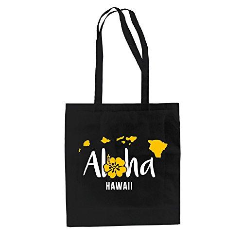 Jutebeutel Baumwolltasche - Aloha Hawaii - von SHIRT DEPARTMENT Schwarz-Gelb