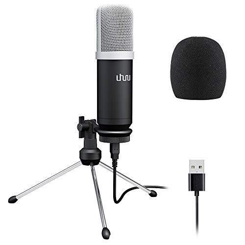 USB PC Mikrofon, UHURU 192KHZ / 24 Bit Studio Cardioid Kondensator Aufnahmemikrofon mit professionellem Sound Chipsatz Plug & Play Desktop Stativ Mikrofon für Skype YouTuber Karaoke Gaming Aufnahme