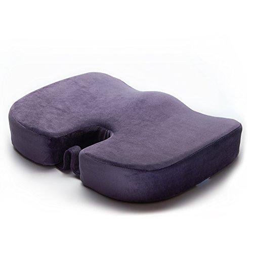 EPMIC Othopädisches Sitzkissen, mit Innovativer Memory Schaumstoff und Anti-Rutsch Abdeckung, ergonomisches Sitzkissen für Auto, Zuhause, Büro, Rollstuhl sowie Reisen, Lila - 47 cm × 36 cm × 8,5 cm - Sitzkissen Lila
