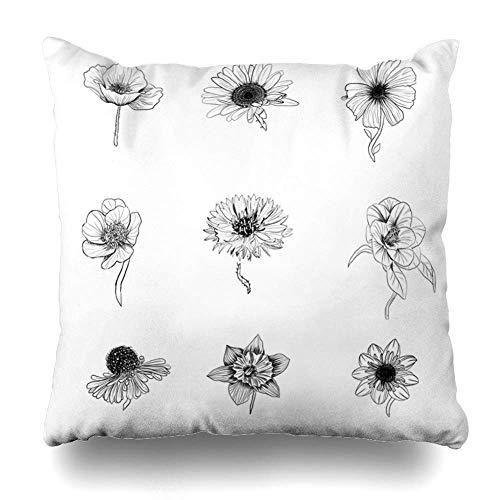 akingstore Satz von 4 Throw Pillow Cover Square 18 x 18 Zoll schwarz weiße Blumen abstrakte Blatt Aquarell Blossom botanische Botanik Floral Garden Rose Kissenbezug Home Decor Kissenbezug -
