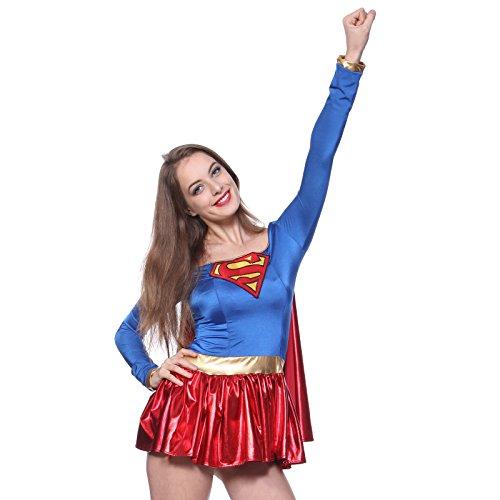 Super Girl Gr.L Damen Halloween Kostuem Superheldin Sexy Woman hero f. Karneval Party Mottoparty