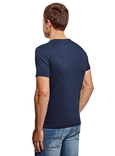 oodji Ultra Herren Gerades Tagless T-Shirt Basic Blau (7900N)