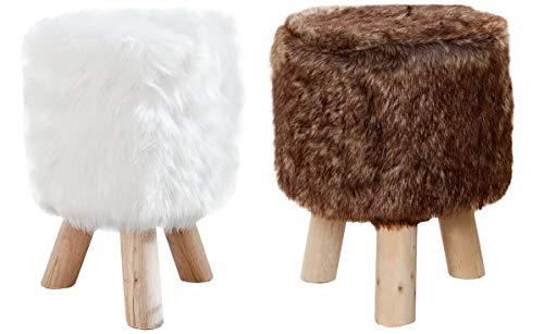Antarris/Invicta Fellhocker weiß und braun im Set Sitzhocker mit Fell Kunstfell Fußhocker Fellbezug Hocker Fellimitat