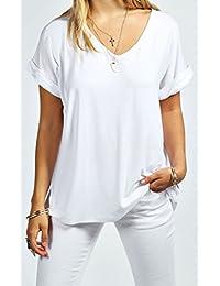 Funky Boutique Damen lange schulterfreies Einfach Batwing Top Größe 44-54: Farbe - Weiß : Größe - 16-18 LXL