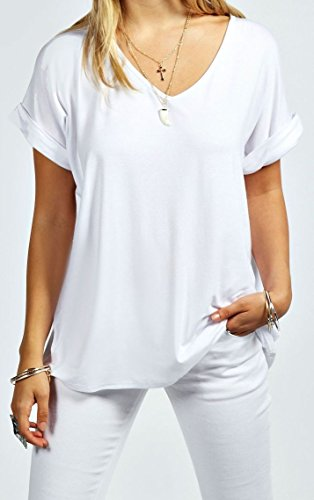 Hot Hanger Womens Oversized Baggy Loose Fit Turn up Batwing Sleeve Tunic Top T Shirt UK 8-28 (12-14 (ML), White)