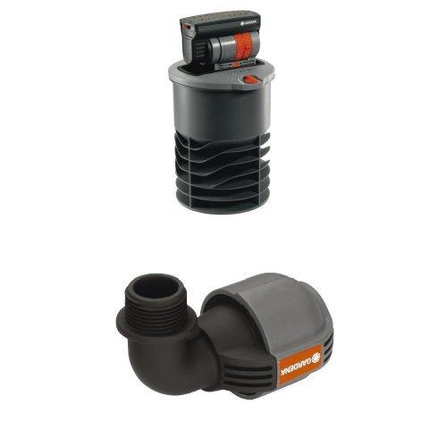 "Gardena 8220-29 Sprinklersystem Versenk-Viereckregner OS 140 + Gardena 2781-20 Sprinklersystem L-Stück, 25 mm x 3/4""-AG"