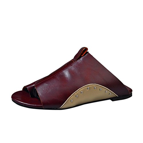 S&H-NEEDRA Vintage Frauen Flachem Boden RöMischen Sandalen Runde Zehe Ankle Straps Hausschuhe