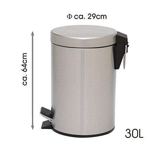 Mack Edelstahl Mülleimer Treteimer Abfalleimer Küche mit Absenkautomatik I Runde Form, 30 Liter