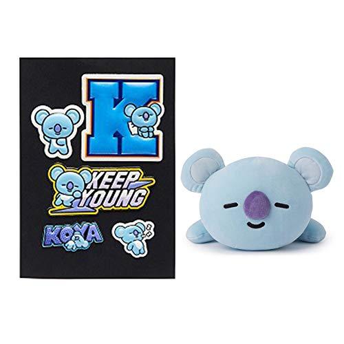 Christ For Givek Kpop BTS Cartoon Pillow Doll, Nap Pillow + 3D Bubble Sticker, Gift for A.R.M.Y(KOYA) (Halloween-make-up 10 Min)