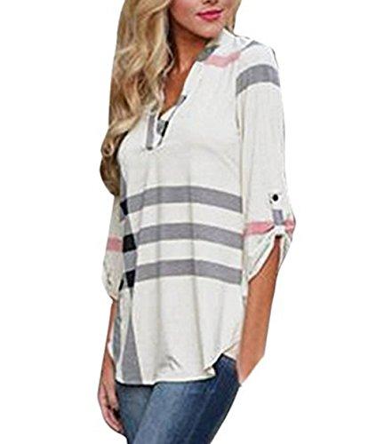 ASSKDAN Damen V-Ausschnitt 3/4 Ärmel Loose kariertes Hemd Bluse Langarmshirt Oberteil Top (L, Weiß)