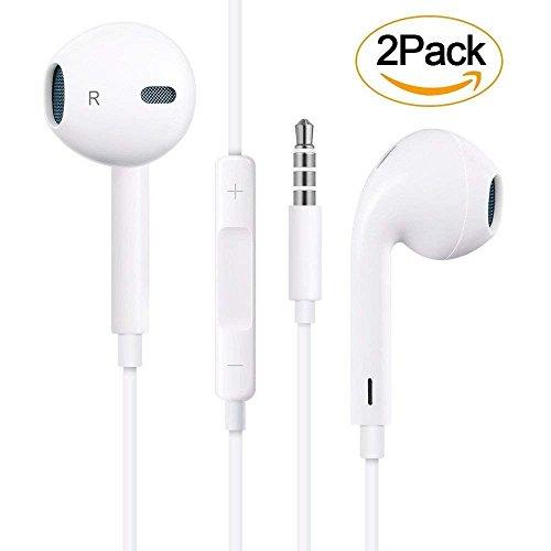 【2 Pack】 In Ear Auriculares Headphones/Earphones con Micrófono y Control de Volumen, Auriculares Earbuds con Aislamiento de Ruido para Apple iPhone 6/6plus/5/5s y Todos con Cable DE 3,5 mm