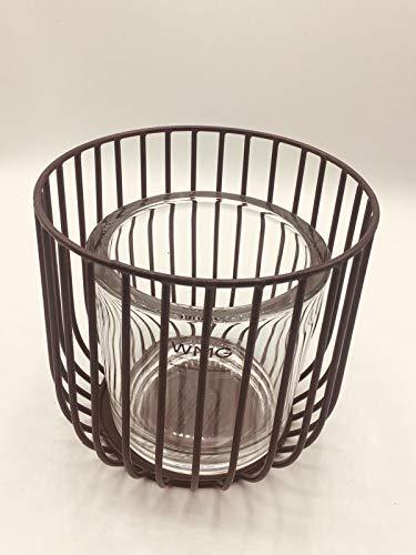 WMG | Pino Teelichthalter Windlicht Tischlicht mit Glas | H 17 cm D 16 cm | Metall Schwarz | Tisch...