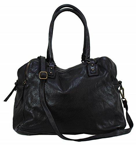 BZNA Bag Lue nero Italy Designer Messenger Damen Handtasche Schultertasche Tasche Leder Shopper Neu -