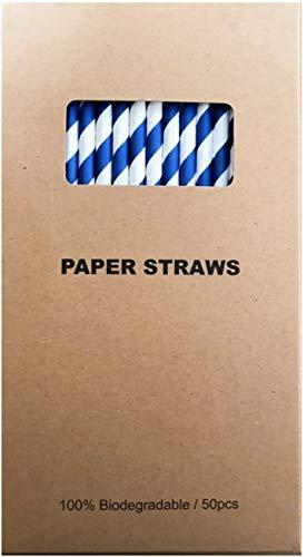 Papier-Strohhalme, umweltfreundlich, biologisch abbaubar, hochwertig, ideal für Partys, Junggesellinnenabschiede, Hochzeiten, Veranstaltungen blau/weiß