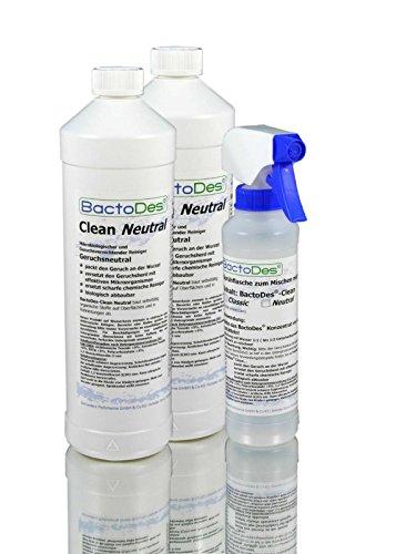 BactoDes Clean 2in1-Spezialreiniger mit Geruchsentferner (mind. 4l Gebrauchslösung) | Allzweck-Reiniger zum Gerüche neutralisieren mit 3-Phasen-Geruchskiller z.B. bei Erbrochenes, Urin, im Badezimmer (Bad-Reiniger), öffentlichen Sanitärräume (WC / Pissoir) etc. | inkl. Reinigungs-Spray-Flasche | Neutral | 2 Liter